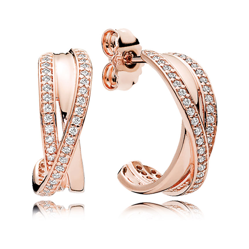 PANDORA Rose Entwined Hoop Earrings, Clear CZ: Precious
