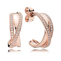 PANDORA Rose Entwined Hoop Earrings, Clear CZ: Precious