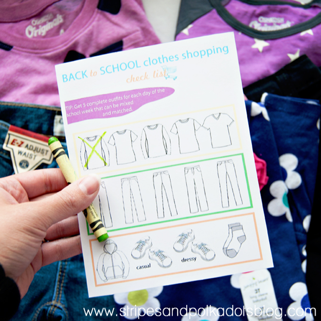 Back to School Clothes Shopping check list