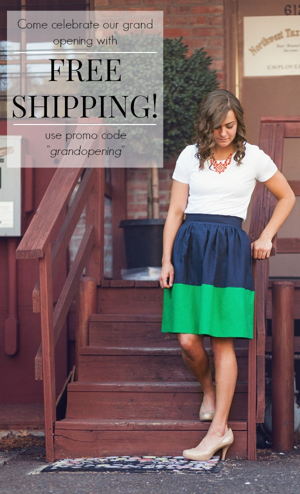 Color Block Party Skirt free shipping