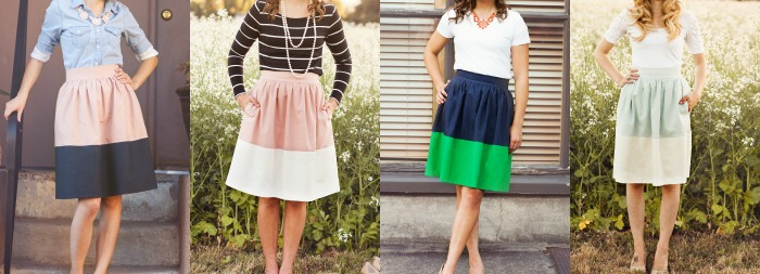 colorblock party skirts