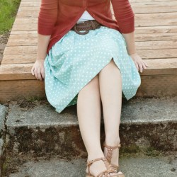 Mint + Polka Dot Pleated Skirt Refashion