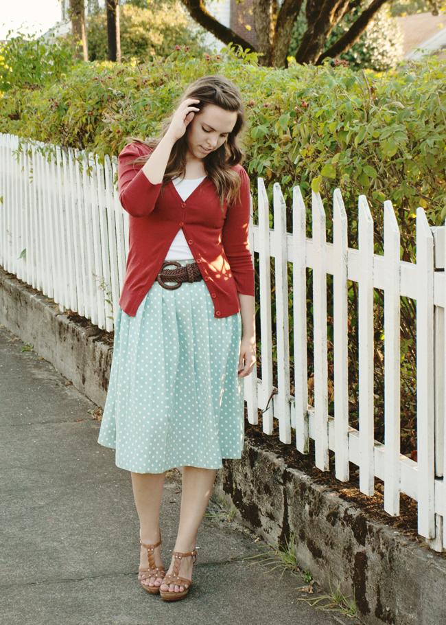 Polka Dot Midi Skirt Refashion