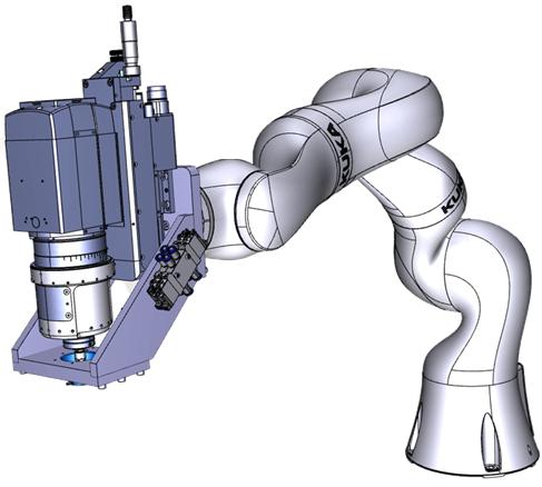 La tête de perçage orbital Orbibot de Precise intégrée à un robot Kuka IIWA