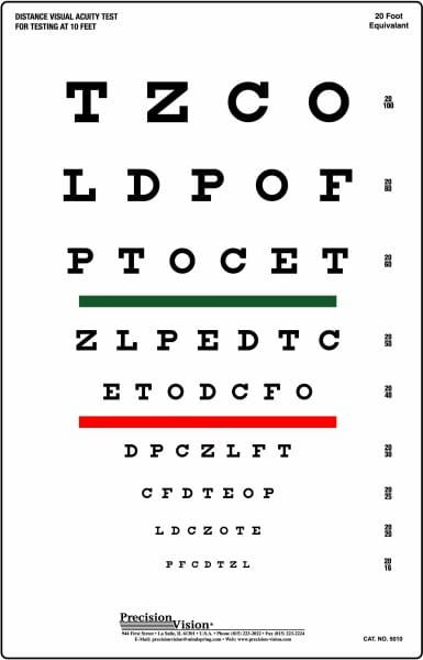 Snellen Chart: Red and Green Bar Visual Acuity Test