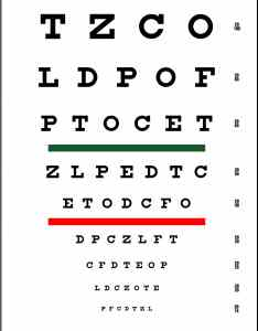 Snellen chart red and green bar visual acuity test also precision vision rh