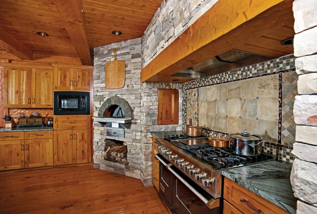 outdoor kitchen canada round table set eagle river, wisconsin hybrid log home | by precisioncraft