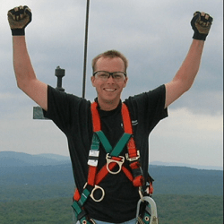 Paul's Victory on top of a wind tower