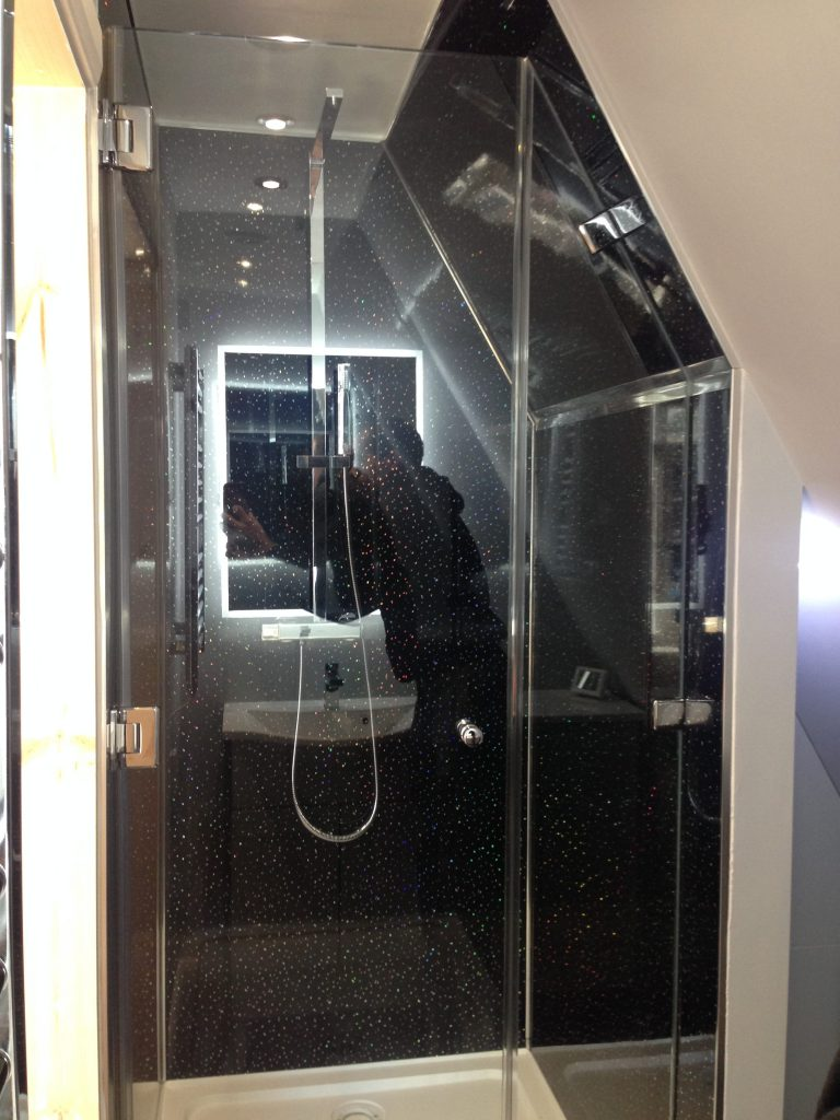 Shaped bespoke shower screen