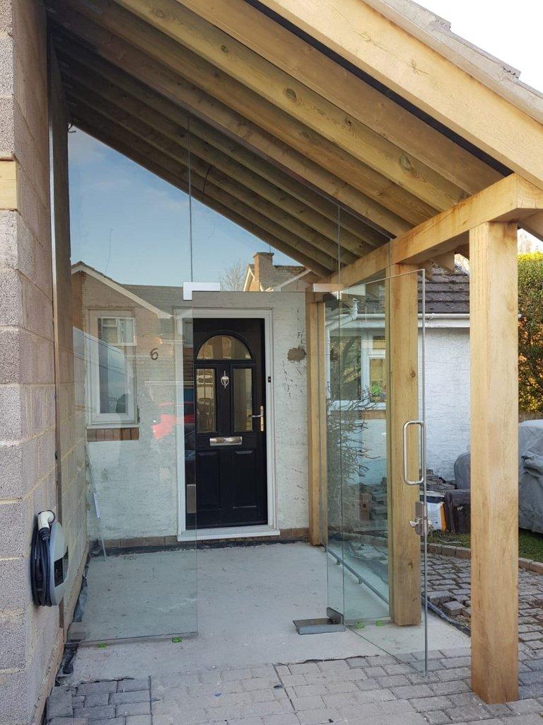 Shaped oversize glass porch