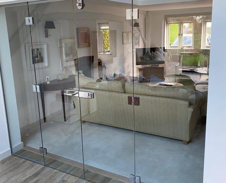Large frameless glass doors