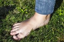 Feet Walking Barefoot Grass