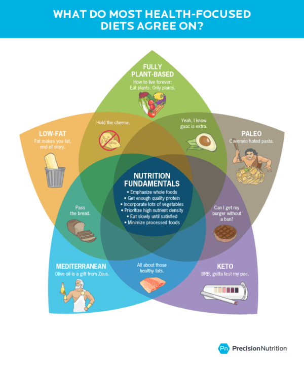 Graphic shows a Venn diagram of five diets: Fully plant-based (vegan), low-fat (high-carb), Paleo, Mediterranean, and keto (low-carb). In the middle (what they all have in common) are these nutrition fundamentals: 1) emphasize whole foods, 2) get enough quality protein, 3) incorporate lots of vegetables, 4) prioritize high nutrient density, 5) eat slowly until satisfied, 6) minimize processed foods..