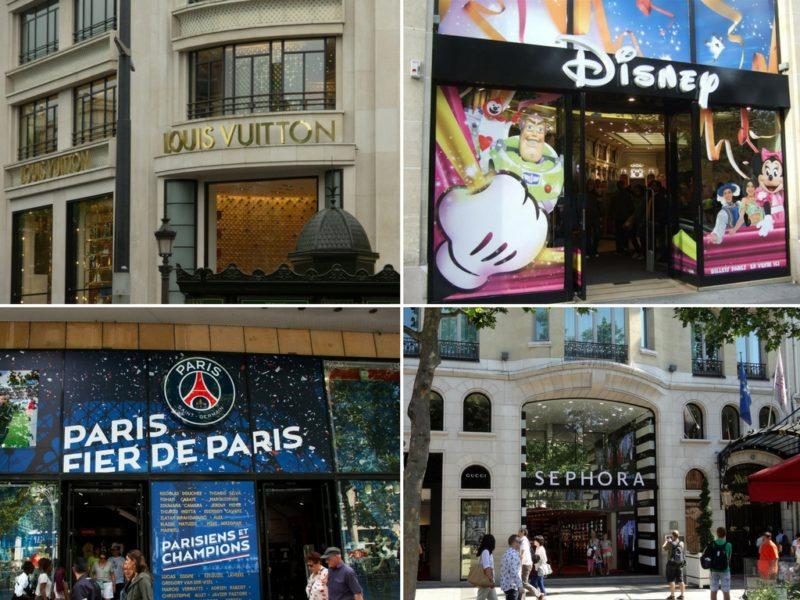 ruas para fazer compras em Paris Champs-Elysees