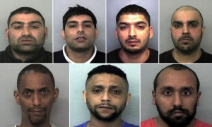 Members of the paedophile ring (clockwise from top left): Akhtar Dogar, Anjum Dogar, Kamar Jamil, Assad Hussain, Zeeshan Ahmed, Bassam Karrar and Mohammed Karrar were sentenced for charges involving vulnerable underage girls who were groomed for sexual exploitation. Photograph: Thames Valley police/PA / theguardian.com