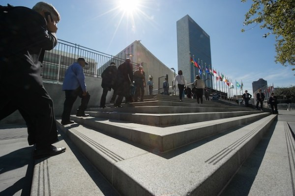DIPLOMACY'S HEART. A view of the UN headquarters complex, as seen from the Visitors'€™ Entrance, 23 September 2014, United Nations, New York. Yubi Hoffmann/UN Photo