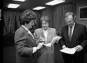 """Irish Laureate Women Of Europe Award. (T10). 1989. 17.11.1989. 11.17.1989. 17th November 1989. Speculation regarding the Irish Laureate for the 1989 Women of Europe Award ended today when the Minister for Education, Ms Mary O'Rourke TD, announced that the Irish Laureate for this year is Grainne Kenny. Founder member of EURAD (Europe Against Drugs), and well known for her work as """"The drugs lady"""" in Ireland, Grainne Kenny has been involved in the fight against drugs since 1980. She helped form CAD, Community Action and Drugs and later EURAD. EURAD is has the active co-operation of both the European Commission and Parliament.  Image shows the Minister for Education, Mary O'Rourke (left) preparing for the presentation with members of the organising committee."""