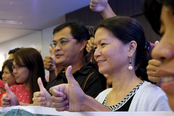 Yolanda Esguerra, national coordinator of PMPI and one of the respondents of a libel case file by a mining company, says the complaint is 'plain harassment.' (ucanews.com photo by Joe Torres)