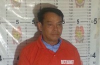 MUGSHOT. Albuera Mayor Rolando Espinosa Sr has his mugshot taken by PRO 8 police on October 5, 2016. Photo courtesy of Chief Inspector Maria Bella Rentuaya, PRO 8 spokesperson