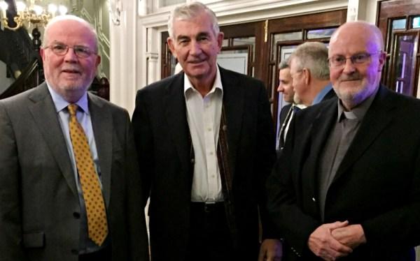 Columban Fr. Shay Cullen (center), in Ireland to receive the Hugh O'Flaherty International Humanitarian Award, with Matt Moran (left) and Fr. Pat Raleigh (right), the Columban Fathers' regional director in Ireland