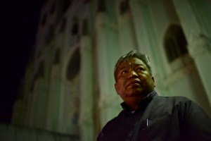 The Rev. Bobby dela Cruz outside San Sebastian Church in Manila. (Jes Aznar/For The Washington Post)