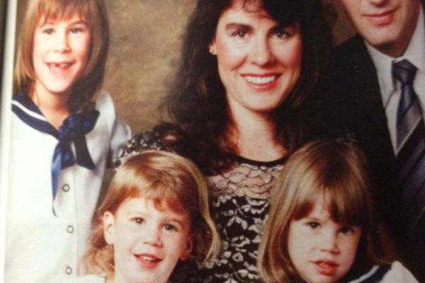 Left to right: Emma Foster (6); Aimee Foster (2); mother Chrissie Foster; Katie Foster (4) and father Anthony Foster. Emma and Katie were abused by a Catholic priest from an early age. Emma later committed suicide while Katie took to drinking heavily and was hit by a car.