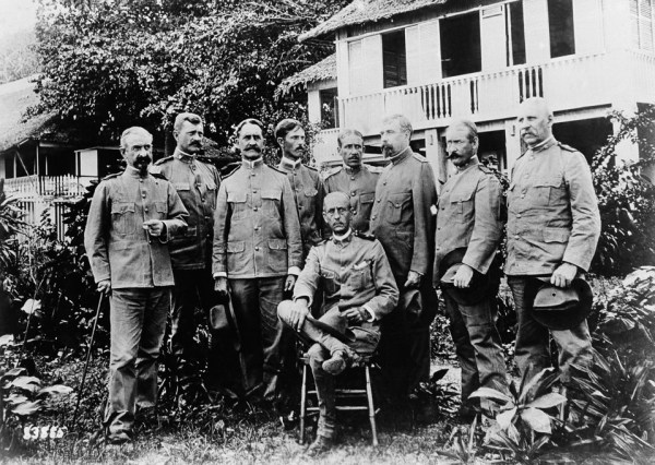 U.S. General John Pershing with a group of officers at Zamboanga, Mindanao.