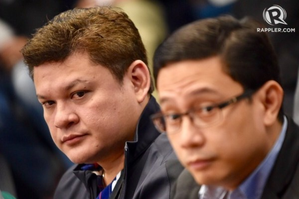 Davao City Vice Mayor Paolo Duterte and President Duterte's son-in-law Atty. Mans Carpio attend the Senate hearing on the P6.4B BOC shabu smuggling on September 7, 2017. Photo by Photo by LeAnne Jazul/Rappler
