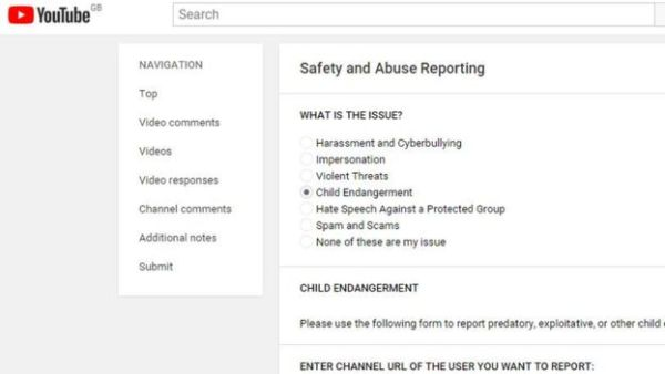 The form where YouTube users can report violations.