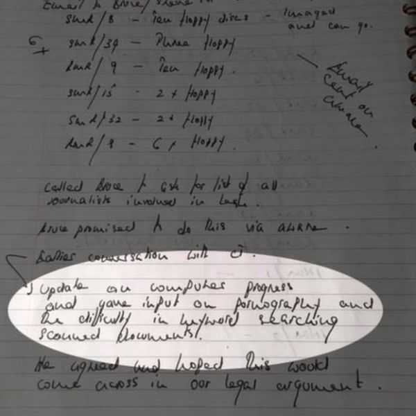 A page from Neil Lewis's police notebook refers to pornography