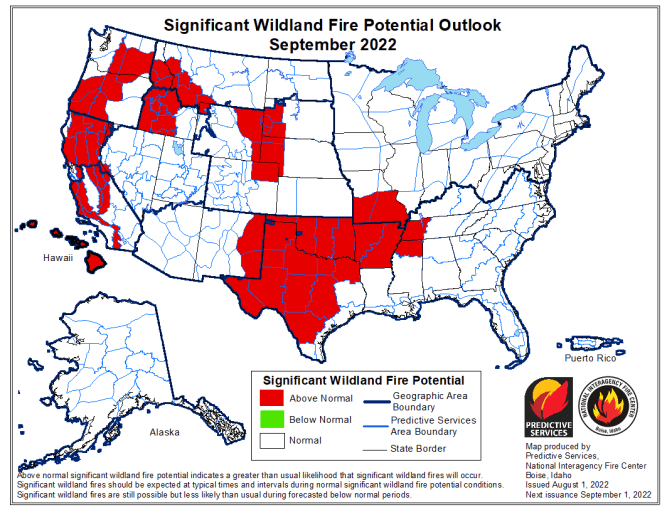 Month 2 Wild-land Fire Potential Outlook
