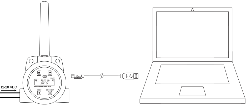 PDW30 wireless units connect to a PC with a USB connection