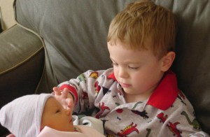 Jackson holding his sister