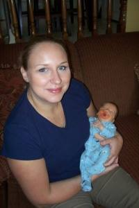 Carolyn's best friend waited patiently to meet Carolyn's firstborn, preemie son.