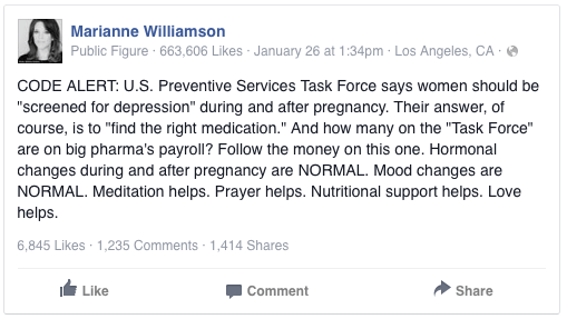 marianne williamson ppd