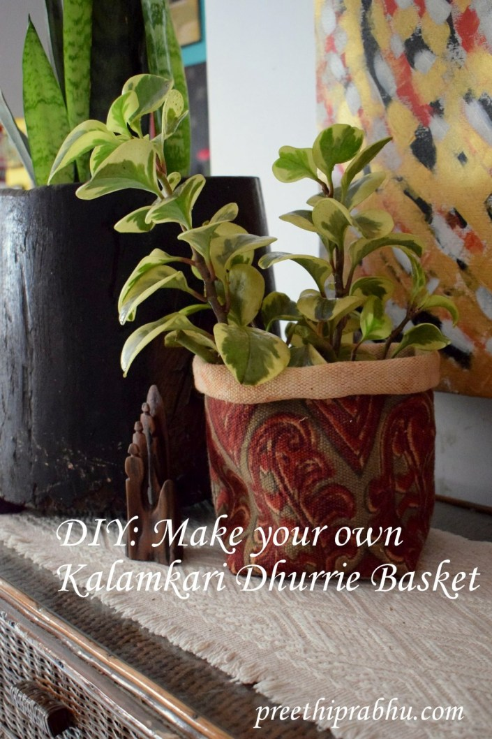 DIY Make your own Kalamkari basket out of an old dhurrie