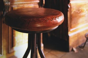 Antique furniture with leather