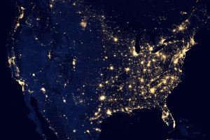 USA seen from space in dark