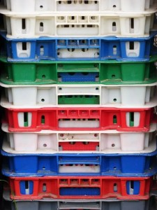 Stacked plastic crates as one of the advantages of plastic moving bins