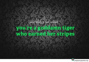 tiger stripes pregnancy quote