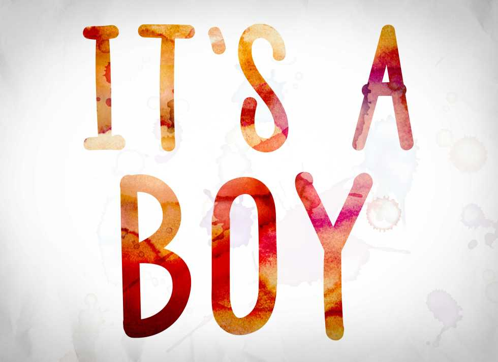 It's a boy pregnancy announcement quote in red and orange letters