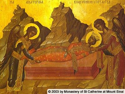 Sepultura de la Santa. Icono ortodoxo griego. Monasterio de Santa Catalina del Sinaí (Egipto).