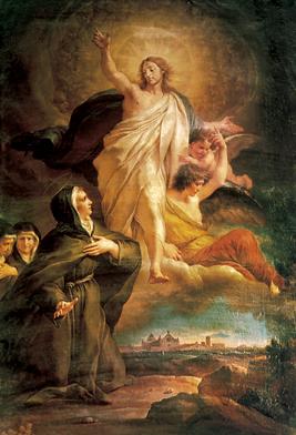 Aparición de Nuestro Señor a la Beata. Lienzo de G. Cades (1750-1799). Altar de la capilla de la Beata en la iglesia de San Francisco, Foligno (Italia).