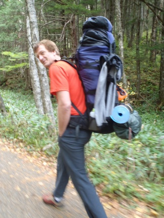 My backpack was a beast - sleeping bags for two, tent, food, climbing equipment, food, ...