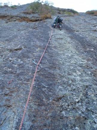 A bit up in the crux, fifi and ladder!