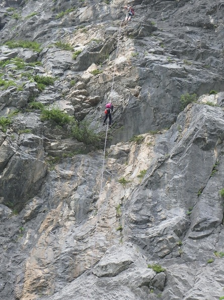 Rappeling down the last two pitches