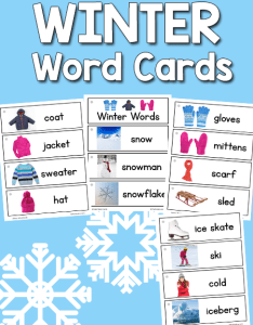 Winter picture word cards also prekinders rh