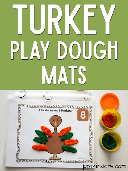 Turkey Play Dough Math Mats PreKinders