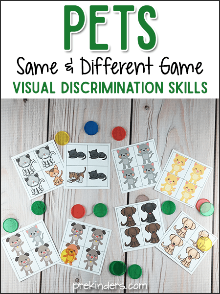 Pets Same and Different Games for Visual Discrimination  PreKinders