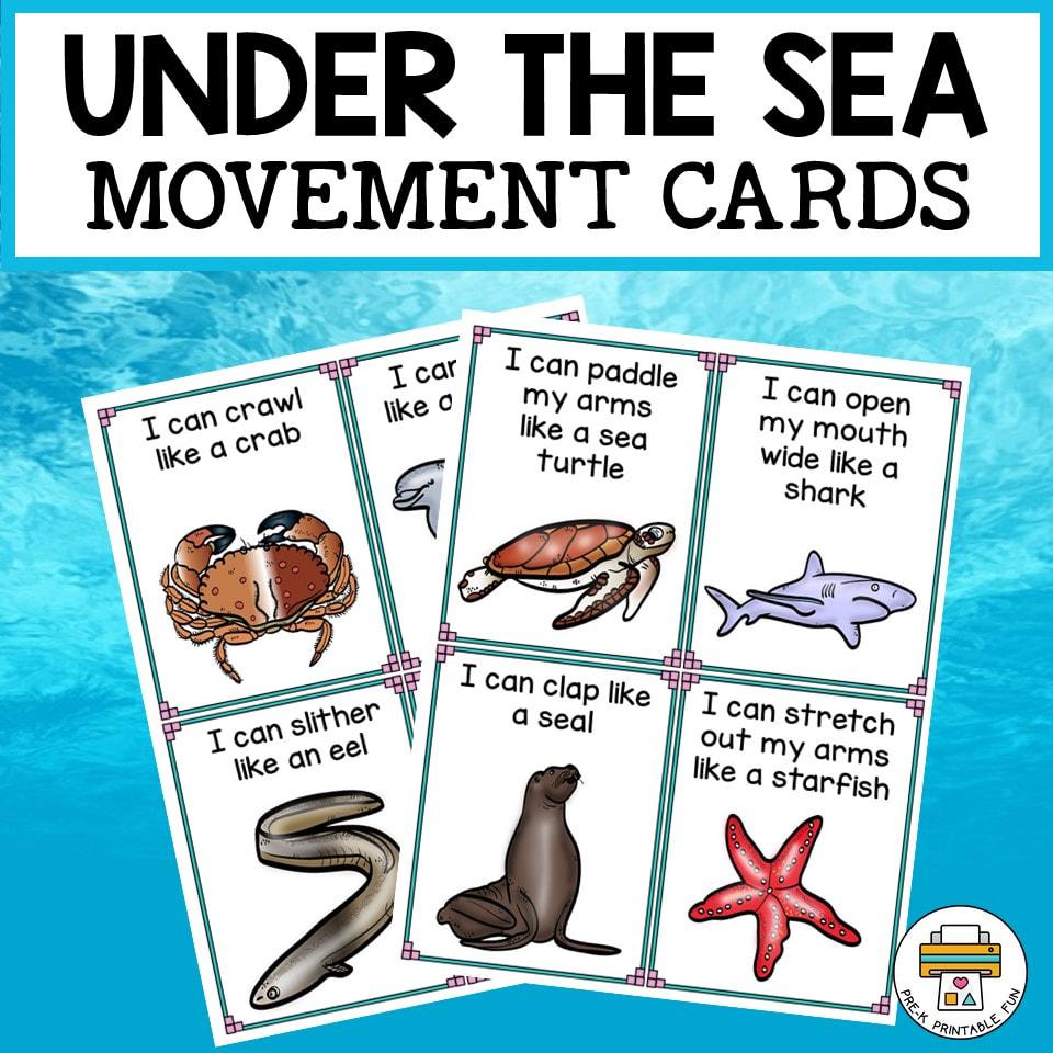 medium resolution of Under the Sea Movement Cards - Pre-K Printable Fun